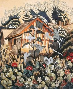 Charles E. Burchfield (1893-1967), Nasturtiums and Barn, 1917; watercolor on paper, 22 x 18 inches