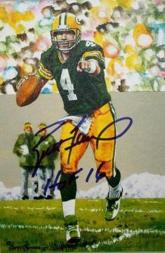 Brett Favre Autographed signed Green Bay Packers 14993 Goal Line Art Blue  Hof f6dbb30f4