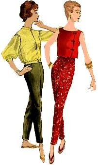 1950s Pant Outfits for Women | The sleek sets at left features a very tapered leg. Likethe pencil ...
