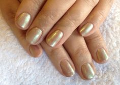 CND Shellac in Cocoa with burnished Green Gold Sparkle additive xDBDx