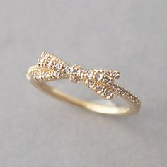 CZ Ribbon Bow Ring Gold