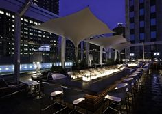 Super excited about staying at this hotel in Chicago next week! Rooftop bar at The Wit hotel, Chicago. Architecture/Design by The Johnson Studio Chicago Hotels, Chicago Restaurants, Rooftop Lounge, Rooftop Pool, Bar Lounge, Decoration Restaurant, Restaurant Design, Italy Restaurant, Park Restaurant