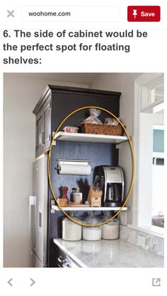 Small kitchen hacks: Add shelving on the side of cabinets to help free up counter space!