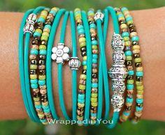 Turquoise Boho LEATHER Wrap Bracelet Tibetan by WrappedinYou