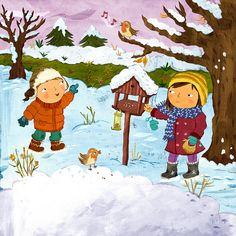 Praatplaat winter Christmas Pictures, Kids Christmas, Drawing For Kids, Art For Kids, Four Seasons Painting, Book Illustration, Illustrations, Winter Thema, Beginning Of The School Year