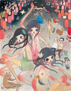 View THE FISH IN BEIJING REALLY DELICIOUS GLUB GLUB (2008) By Takano Aya; acrylic on canvas; 116.8 x 90.8 cm. (46 x 35 3/4 in.); Signed; . Access more artwork lots and estimated & realized auction prices on MutualArt. Japanese Contemporary Art, Japanese Art, Modern Art, Pretty Art, Cute Art, Aya Takano, Funky Art, Aesthetic Art, Art Inspo