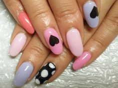 Hearts & dots #nails #multi colours