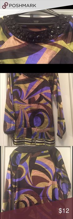 Nicole Miller MultiColor Bead Tunic Multi-Color(black/blue/dark brown/tan/light green) Tunic with Bead Accent. Size 4. A beads are loose and one missing. 95% Polyester/5% Spandex. Nicole by Nicole Miller Tops Tunics