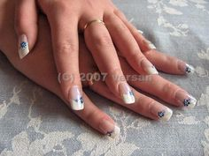 Blue Hibiscus flower on nails