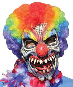 OFF or FREE SHIP -Funny Bones Latex Mask : You shouldn't invite this clown over to your child's birthday party. Full over-the-head latex clown mask with hand-painted design with multi-color clown hair attached. One size fits most adults. Funny Halloween Masks, Animated Halloween Props, Adult Halloween, Halloween Costumes For Kids, Halloween Parties, Vintage Halloween, Clown Horror, Horror Masks, Clown Maske