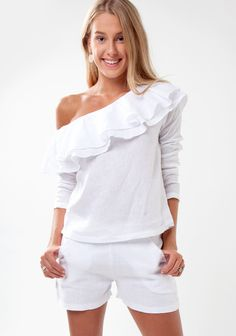 For the upscale destination-seeker, this lovely linen top will become your travelling go-to. It features a feminine off-the-shoulder neckline accented with Ruffle Top, White Shop, Fashion Brand, Summer Outfits, Topshop, White Blouses, Gowns, Boho, Lady