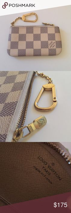 Lv key pouch Authentic and in great condition! Minor scratches on zipper(pictured) Damier Azur canvas. Can be used as a wallet (does fit cash and cards together but a bit of a tight squeeze) or just for ID and credit cards. Includes box (not pictured) and dust bag. More pictures available upon request :)  **NO TRADES**  Feel free to make an offer but no low balling please :) those offers will just be declined. Louis Vuitton Accessories Key & Card Holders