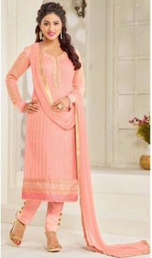 Salmon Color Georgette Straight Cut Style Pakistani Formal Dresses with Dupatta #casual, #salwar, #kameez, #online, #trendy, #shopping, #latest, #collections, #summer,#shalwar, #hot, #season, #suits, #cheap, #indian, #womens, #dress, #design, #fashion, #boutique, #heenastyle, #clothing, #cotton, #printed, #materials, @heenastyle