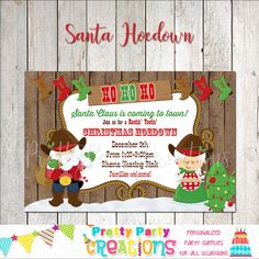 Christmas Invitations, All Design, Party Supplies, Handmade Items, December, Santa, Etsy Shop, Party Items, December Daily