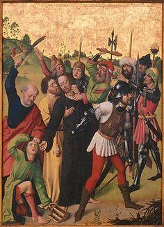 Detail Meister der Lyversberg-Passion (tätig in Köln um 1460 – 1490): Zwei Flügel eines Triptychons, um 1464 – 1466. Eichenholz, jede Szene 92 x 97 cm.