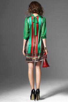 Bardouilles....Shop with us! Green Print Women Dresses Chiffon Patchwork Vintage Dress