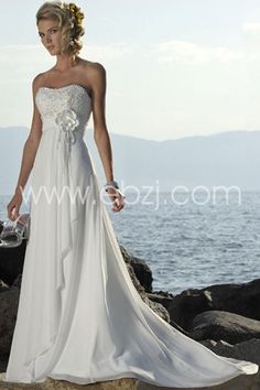 New Hot style Sheath Sweetheart Chapel Train Chiffon Beach Wedding Dresses With Hand Made Flower