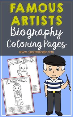 Bundle of 14 Famous Artists Biography Coloring Pages with Informational Text. Figures included: Jackson Pollack, Leonardo Da Vinci, Andy Warhol, Michelangelo, Frida Kahlo, Pablo Picasso, Vincent Van Gogh, Henri Matisse, Georgia O'Keefe, Rembrandt, Salvador Dali, Auguste Renoir, Claude Monet, Raphael Sanzio