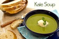 Warm and hearty Kale soup with yukon potatoes and onion, garnished with Crème Fraîche and mint. Kale Soup Recipes, Vegetarian Recipes, Healthy Recipes, Veg Recipes, Simple Recipes, Healthy Soup, Cream Recipes, Recipes Dinner, Healthy Life