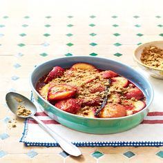 Baked plums with a crunchy crumble topping is a delicious blend of sweet and savoury, with a wonderful honey syrup - and it couldn't be easier to make! Plum Crumble, Crumble Topping, Sweet Dumplings, Honey Syrup, Pie Dessert, Desert Recipes, Ratatouille, Tray Bakes, Cake Recipes