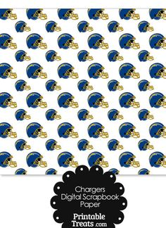 San Diego Chargers Football Helmet Digital Paper from PrintableTreats.com