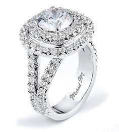Double halo. -- Michael M. Engagement Rings - R613 from the Monaco collection
