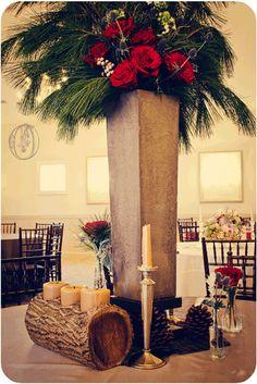 Holly-Hedge-Estate-Winter-Rustic-Concrete-Evergreen-Garden-Rose-Wood-Centerpiece-Oleander-New-Jersey-Bucks-County-Wedding-Florist-Floral-Design