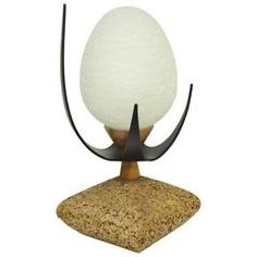 For Sale on - Rare 'Egg' table lamp by Lynard of California and Septor. This Mid-Century Modern table lamp features a sculpted cork base, solid walnut accents, black Glass Table Lamp, Crackle Glass, Solid Walnut, Lamp, Glass, Mid Century Modern Lighting, Modern Style Furniture, White Glass, Mid Century Modern Table Lamps