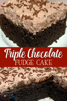 A chocolate cake is made richer by pouring hot fudge over top before adding a layer of chocolate mousse-like frosting to make Triple Chocolate Fudge Cake. Chocolate Box Cake, Chocolate Cake Mix Recipes, Triple Chocolate Mousse Cake, Chocolate Desserts, Hot Fudge Cake, Recipe For Fudge Cake, Fudge Flavors, Easy Cake Recipes, Potluck Recipes