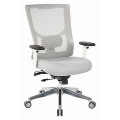 Pro Line White Mesh High-Back Office Chair with Seat Slider and Adjustable Arms - On Sale - Overstock - 22910457 Rolling Office Chair, High Back Office Chair, High Back Chairs, Conference Room Chairs, Office Star, Ergonomic Chair, Coastal Furniture, Furniture For Small Spaces, Modern Chairs