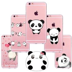 New China Cute Panda For iPhone 7 7Plus 6 6S 6plus 6splus 5 5S SE 4 4S Case Soft TPU Cover Coque Capa for iphone 6 Cases