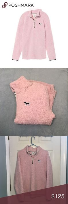 Victoria's Secret PINK Sherpa Quarter zip [M] VS PINK cozy sherpa quarter zip in color Baby Pink and size Medium. This product is no longer available on the official Victoria's Secret website!! PINK Tops Sweatshirts & Hoodies