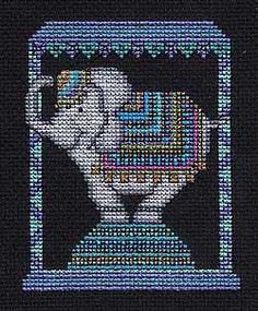 Elle The Circus Elephant, free cross stitch pattern to download. Uses Kreinik metallic threads.