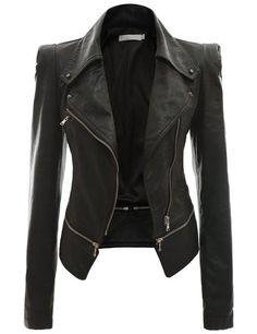 Кожа Doublju искусственного Rider Куртки BLACK (США S)