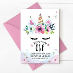 Unicorn birthday invitation unicorn invitation magical
