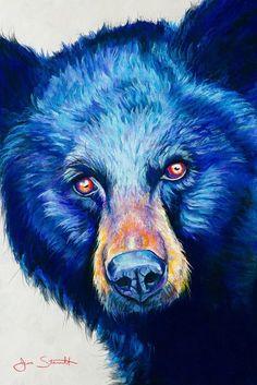 Black Bear Signed Giclee Fine Art Print by Jen Starwalt Watercolor Animals, Watercolor Art, Urso Bear, Kunst Tattoos, Art Tattoos, Bear Paintings, Bear Drawing, Bear Pictures, Bear Art