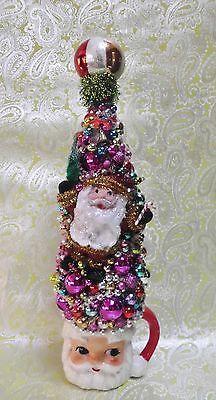 Vintage Christmas Bottle Brush Tree Vintage Santa Mug w/ Retro Santa on Front
