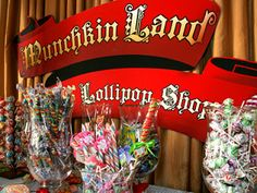 """candy bar with all colorful lollipops and munchkins will be """"munchkin land"""""""