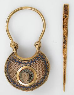 Ca. 1080-1150 Constantinople, Byzantine cloisonne enamel and gold temple pendant and stick - Met Museum