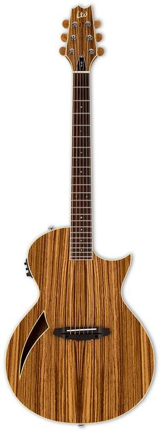 LTD TL-6Z Thinline If full bodied acoustic tones, with the comfort and play-ability of an electric solid body is what your after, than the LTD Thniline is the answer. Upgraded with with striking Zebra