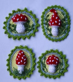 Toadstool Patches x4 - Crochet Pattern. €5.00, via Etsy.