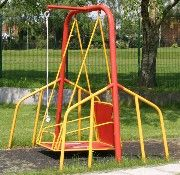Pinterest Assignment Response- Children with different developmental needs should have the opportunity to experience the same materials as other children. This swing allows for children in wheelchairs to swing like any other child on a playground!