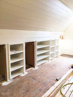 45 Ideas For Finished Attic Storage Crawl Spaces Attic Bedroom Small, Attic Bedroom Designs, Attic Closet, Attic Playroom, Attic Stairs, Attic Bathroom, Attic Rooms, Attic Office Space, Attic Bedroom Closets