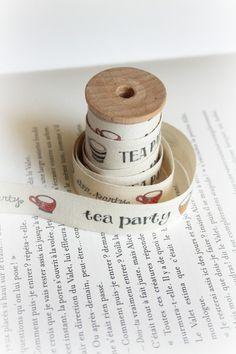Alice Tea Party cotton tape by lillalotta on Etsy, $4.85