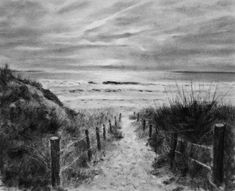 """""""The sounds of sea breezes, waves coming ashore and seagulls squawking overhead slowly fade away; I look to the horizon and wait for the brilliance of a setting sun. There is magic in this h… Easy Drawings, Pencil Drawings, Charcole Drawings, Light Bulb Drawing, Sea Drawing, Male Figure Drawing, Charcoal Art, Magic Hour, Drawing Techniques"""
