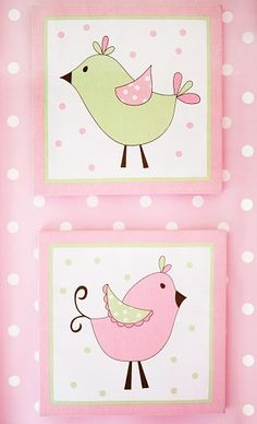 pixie baby wall decor. I might try to paint birds like this for rileys room