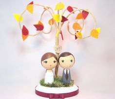 Custom Mini Kokeshi Wedding Cake Toppers with Leaves and Tree Initials Base. $95.00, via Etsy.  Cute for a fall wedding.