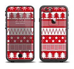 The Red and White Christmas Pattern Apple iPhone 6/6s Plus LifeProof Fre Case Skin Set from DesignSkinz