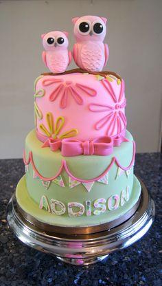 Owl birthday cake - shabby chic owl cake