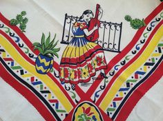 """reduced vintage MEXICAN Southwest Printed Tablecloth Kitchen Cloth 52"""" square"""